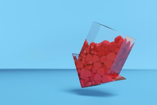 Flèche transparente pointant vers le bas remplie de coeurs rouges.