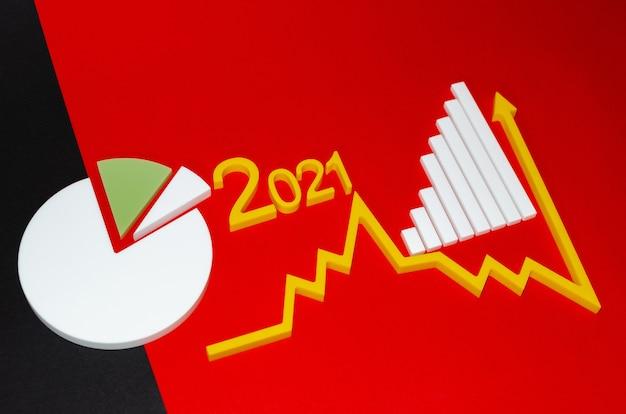 Flèche vers le haut dans le marché boursier. le succès de la croissance croissante devient un concept. copiez l'espace pour votre texte. tableau des états financiers