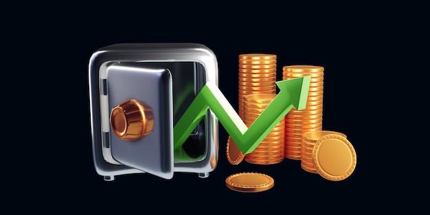 Flèche vers le haut et piles de pièces. concept de réussite et de croissance financière. illustration de rendu 3d