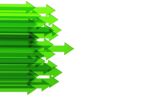 Flèche verte. concept d'entreprise de plus en plus de rendu 3d.