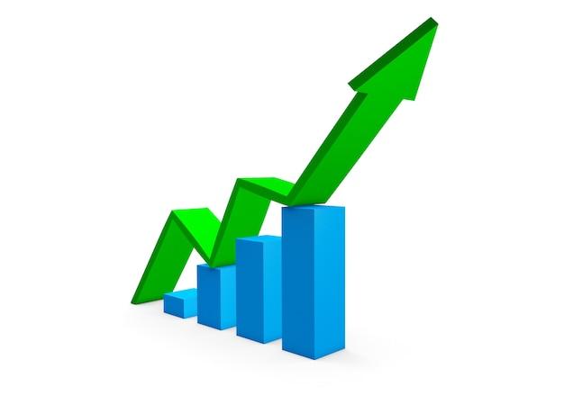 Flèche verte vers le haut des graphiques de croissance. rendu 3d