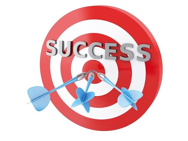 Flèches 3d dans la cible. concept de succès
