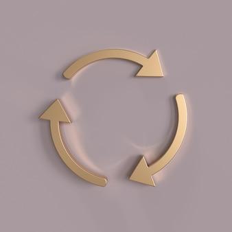 Flèches de cercle d'or tournant sur fond rose rafraîchir le signe de rotation de boucle de recyclage de rechargement