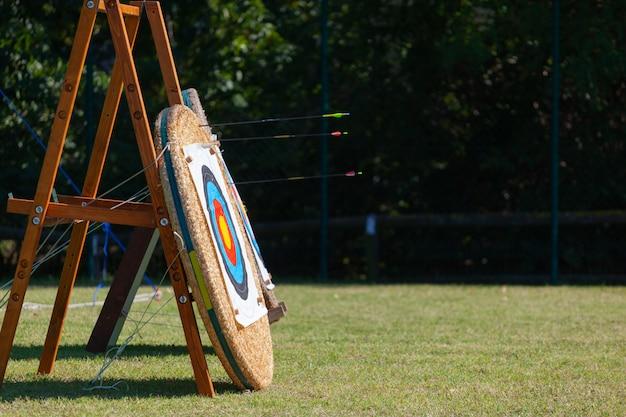Flèches incorporées dans une rangée de cibles de tir à l'arc.
