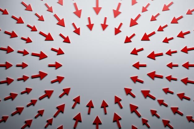 Flèches rouges pointant vers le centre