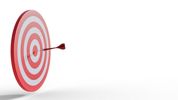 Les fléchettes ciblent l'illustration 3d isolée sur fond blanc. concept d'entreprise de réussite.