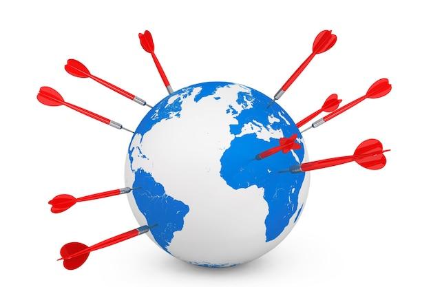 Les fléchettes collent dans un globe terrestre sur fond blanc. rendu 3d