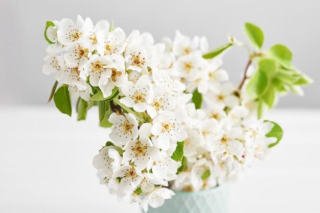 Fleur Blanche Abricot. Printemps Fleurs De Pâques Cerise Floraison. Sakura Fleur Blanche. Jour Ensoleillé. Fleurs De Printemps. Beau Verger. Printemps Photo Premium