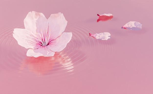 Fleur de cerisier sur liquide rose avec des pétales autour et des ondulations de l'eau. rendu 3d