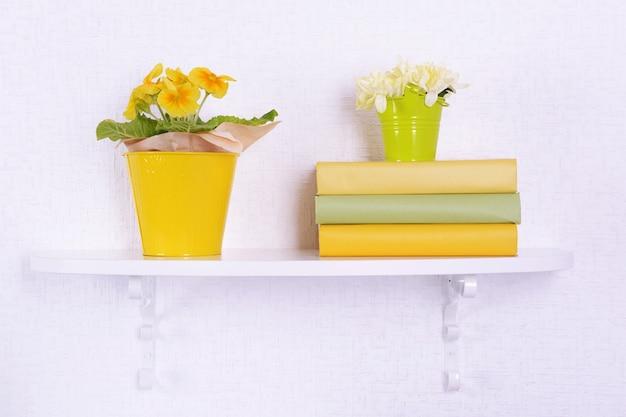 Fleur sur des étagères sur mur blanc