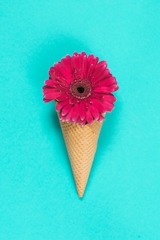 Fleur de gerbera en cornet de gaufres sur table