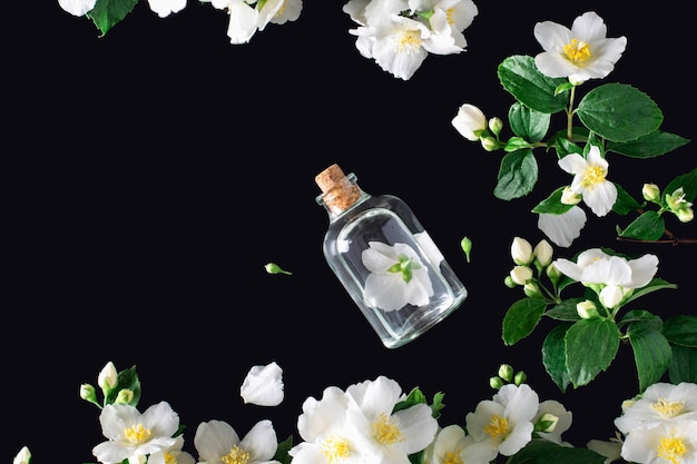 Fleur de jasmin avec bouteille d'essence sur fond noir