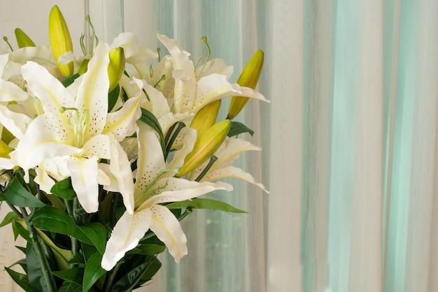 Fleur de lilly dans un pot de vase à proximité du rideau de fenêtre dans la chambre du salon comme décoration de design d'intérieur