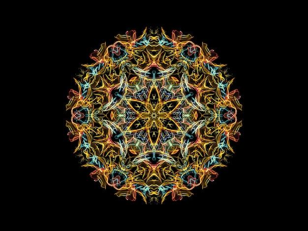 Fleur de mandala flamme abstraite jaune, bleu et corail, motif floral rond ornemental sur fond noir.