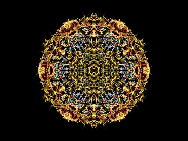Fleur de mandala flamme abstraite jaune, bleu et corail, motif rond floral ornemental