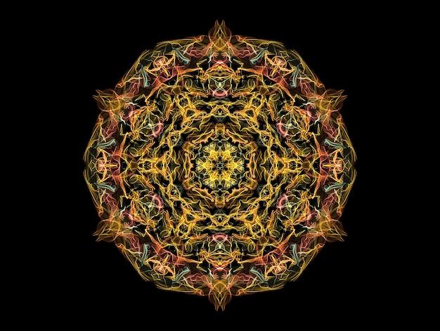 Fleur de mandala flamme abstraite jaune, corail et bleu, thème de yoga motif floral rond ornemental.