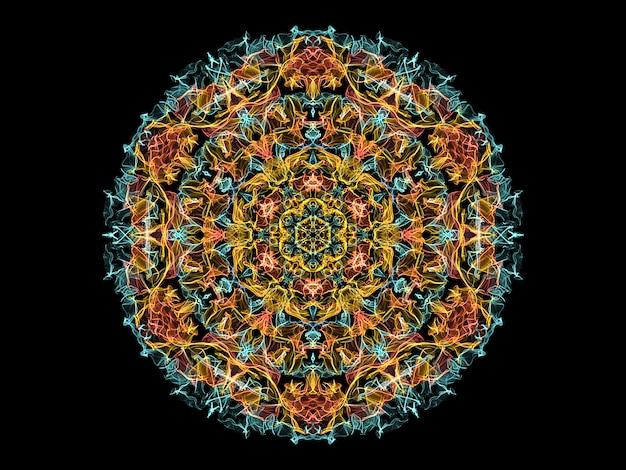 Fleur de mandala flamme abstraite jaune, corail et bleu