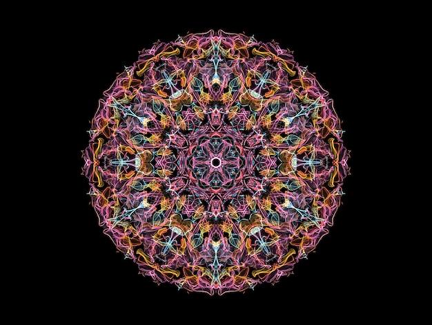 Fleur de mandala flamme abstraite rose, jaune et bleu, motif rond floral ornemental