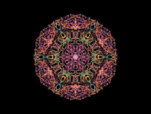 Fleur de mandala flamme abstraite rose, jaune, vert et bleu, motif rond floral ornemental