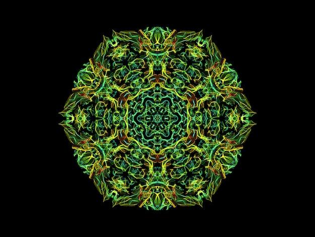 Fleur de mandala flamme abstraite vert et jaune, motif hexagonal floral ornemental sur fond noir.