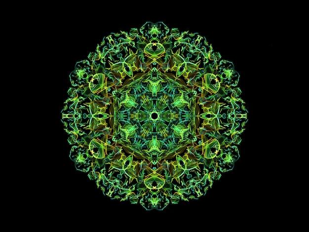 Fleur de mandala flamme abstraite vert et jaune, motif rond floral ornemental