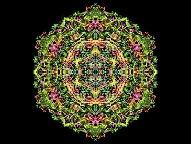 Fleur de mandala flamme abstraite verte, jaune et rose, motif rond floral ornemental