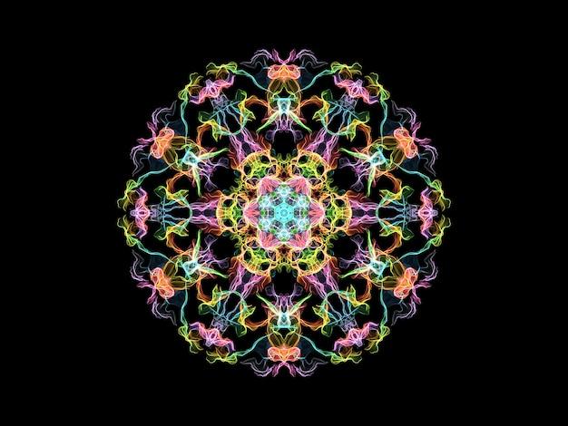 Fleur de mandala flamme multicolore, motif rond ornemental sur fond noir.