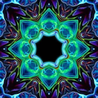 Fleur de néon de couleur abstraite sur fond noir. l'élément pour le design est une fleur lumineuse