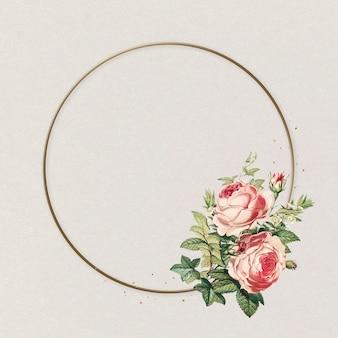 Fleur rose cercle cadre rose illustration vintage