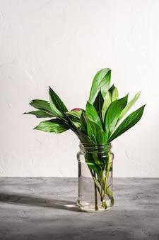 Fleur rose pivoine avec des feuilles vertes dans un bocal en verre avec de l'eau sur fond de pierre texturée, angle de vue