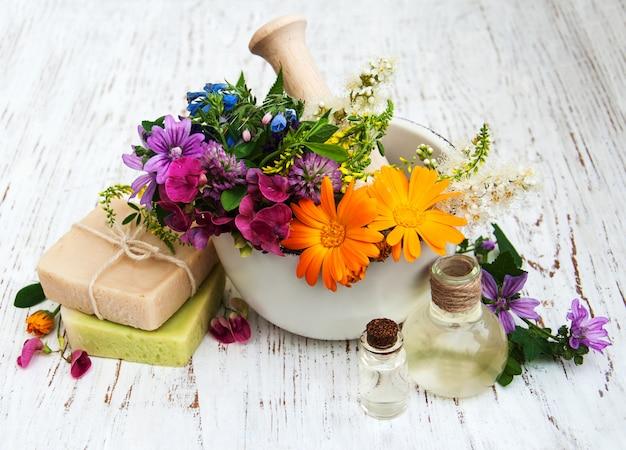Fleur sauvage et feuille d'herbe en mortier