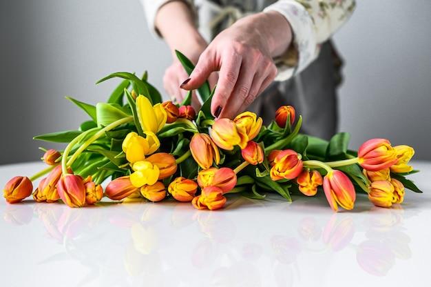 Fleuriste au travail avec des tulipes