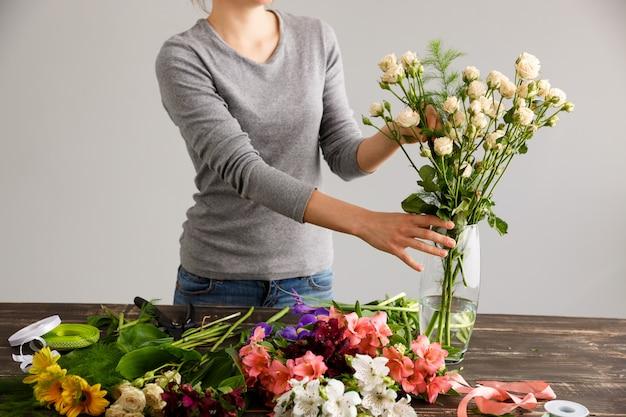 Fleuriste, confection, bouquet, fleurs, vase