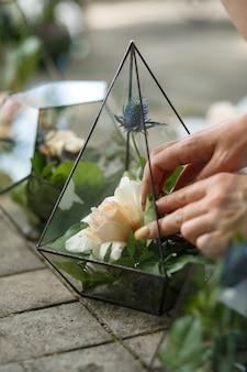 Fleuriste femme met des fleurs fraîches succulentes et roses en verre florarium.