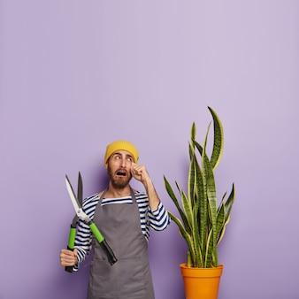 Un fleuriste malheureux pleure de désespoir, doit couper la plante sansevieria après avoir trop arrosé