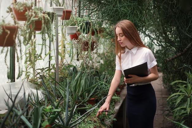 Le fleuriste s'occupe des fleurs à la maison en serre