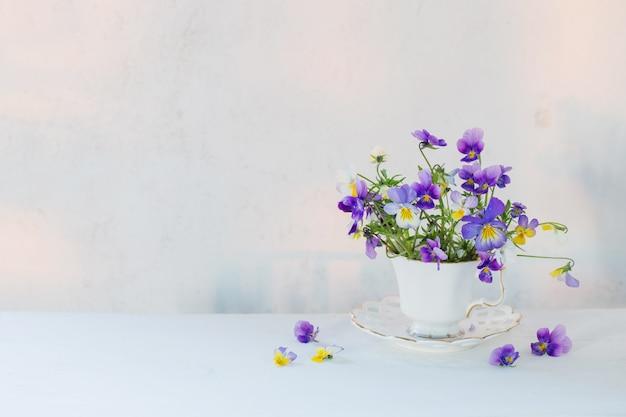 Fleurs d'alto en tasse blanche sur fond blanc