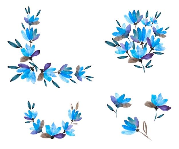 Fleurs à l'aquarelle. coin, vignette, bouquet