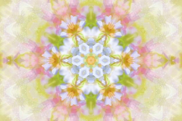Fleurs à l'aquarelle floues, arrière-plan floral printanier, illustration de répétition de symétrie de fleurs printanières, arrière-plan floral lumineux