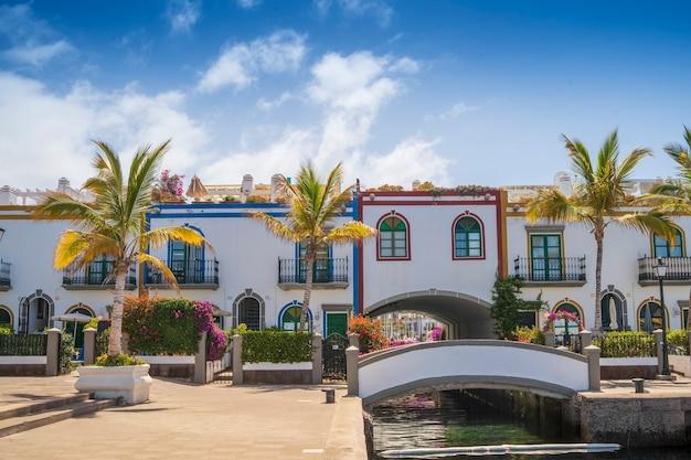 Fleurs, bâtiment et vues générales du port de mogan, gran canarias