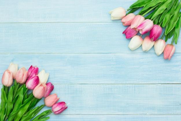 Fleurs de belles tulipes roses sur fond en bois bleu été avec espace de copie. carte de voeux de pâques et de printemps. style minimal.