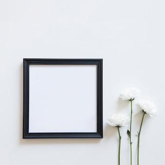 Fleurs blanches et cadre pour le printemps