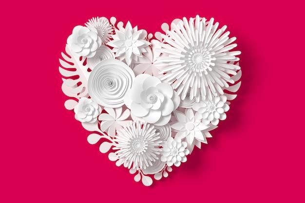 Les fleurs blanches sont en forme de coeur, sur fond rose rouge