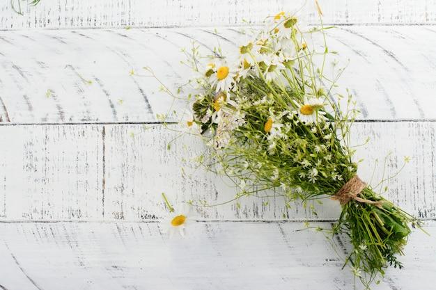 Fleurs de camomille marguerite sur table de jardin en bois