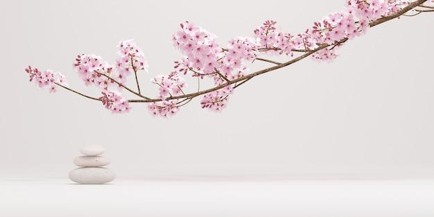 Fleurs de cerisier et équilibre de pierre sur fond blanc pur pour la présentation du produit rendu 3d
