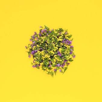 Fleurs circulaires sur fond jaune