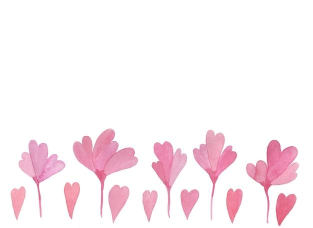 Fleurs et coeurs aquarelles dessinés à la main