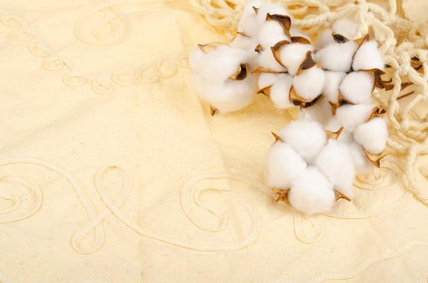 Fleurs de coton séchées sur une surface en tissu de coton