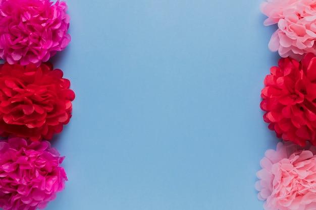 Les fleurs décoratives rouges et roses sont disposées en rangées sur la surface bleue