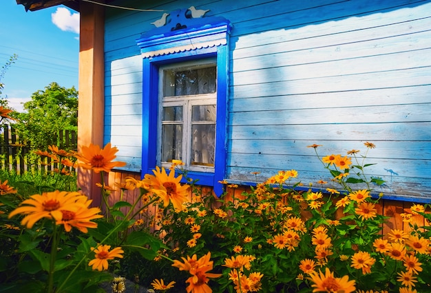 Fleurs devant les fenêtres de la vieille maison. paysage d'été.